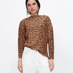 ZARA Leopard Print Blouse size Medium brown black